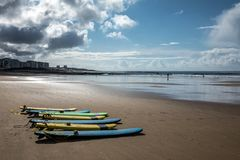 Surfboards on the beach. Of Les Sables d`Olonne Vendee, France Royalty Free Stock Photography