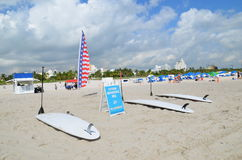 Surfboards on the beach, miami beach Royalty Free Stock Photos