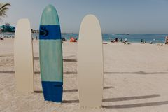 Surfboards on the beach place stock photos