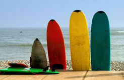 Surfboards. Colorful Surfboards, Lima in Peru Stock Photo