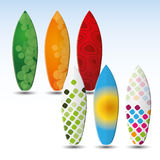 Surfboards Design. Six Colorful Surfboard Vector Designs Royalty Free Stock Photos