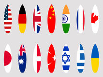 Surfboards with flags of the world. Set. Vector. Illustration Royalty Free Stock Photo