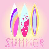 Surfboards with an inscription Summer on a pink background with a gradient fill,. Vector illustration of EPS 10 Stock Photo