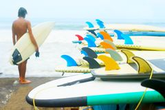 Surfboards surfer ocean beach. Bali Royalty Free Stock Image
