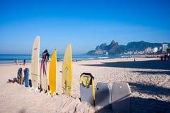 Surfboards na Ipanema plaży, Rio De Janeiro, Brazylia fotografia stock