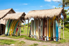 Surfboards in rack Royalty Free Stock Photos