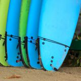 Surfboards for rent. At beach Royalty Free Stock Photography