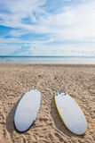 Surfboards on sand at the beach Royalty Free Stock Photo