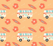 Surfboards seamless pattern. With hibiscus flowers Royalty Free Stock Images