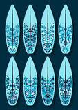 Surfboards set with blue kaleidoscope pattern Stock Photography