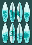 Surfboards set with blue sea creatures drawing Royalty Free Stock Photography