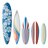Surfboards Set with Flat Design Stock Images