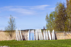 Surfboards standing in a row Stock Photo