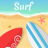 Surfboards and a starfish on the ocean. Opening of the summer season. Relax on the beach. Vector illustration Stock Photo