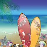 Surfboards on summer beach Stock Photo