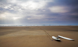 Surfboards! Surfing Landscape / Sea Scape - Beach Panorama Royalty Free Stock Photo