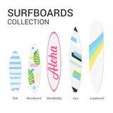 Surfboards typ sylwetka Nowożytny kolorowy surfboard ustawiający na białym tle Zdjęcia Royalty Free