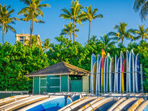 Surf boards Waikiki Beach Hawaii colorful Stock Photography