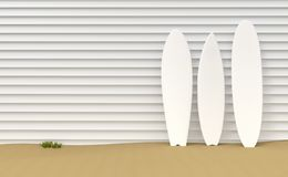Surfboards and wooden fence illustration stock illustration