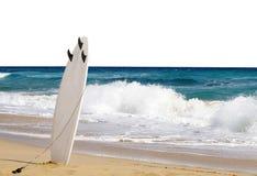 Surfbrett auf Strand Lizenzfreies Stockfoto