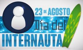 Surfbrett, Digital-Aufkleber und Benutzer-Ikone für spanischen Internaut-Tag, Vektor-Illustration Lizenzfreies Stockfoto