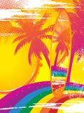 Surfbrett und tropischer Regenbogen Stockbild