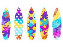 Surfbretter auf einem weißen Hintergrund Arten von Surfbrettern mit einem Muster E Vektor Stockfoto