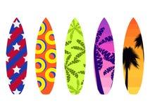 Surfbretter auf einem weißen Hintergrund Arten von Surfbrettern mit einem Muster E Vektor Lizenzfreie Stockbilder