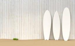 Surfbretter setzen Illustration auf den Strand stock abbildung