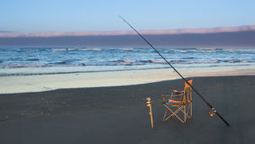 Surfcaster Rod & Chair Royalty Free Stock Photos