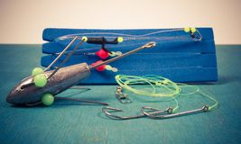 Surfcasting - sea fishing accessories. Methods of sea fishing. Stock Image