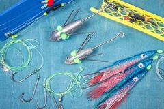 Surfcasting - sea fishing accessories. Methods of sea fishing. Stock Images