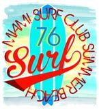 Surfe o paci do typography/da ilustração/dos gráficos/vetores do t-shirt Foto de Stock Royalty Free