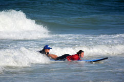 Surfeing lession in Gold Coast Queensland Australia Stock Images