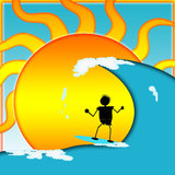 Surfen auf sonniger Tageskarte oder -marke Stockfotos
