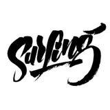 Surfen Moderne Kalligraphie-Handbeschriftung für Siebdruck-Druck Stockbild