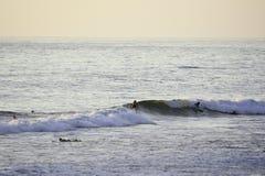Surfend bij Vreedzaam Strand in San Diego, CA Stock Foto's