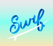 Surfend embleem Brandingskalligrafie, typografieelement, t-shirtgrafiek Vector illustratie Volumetrische brieven Royalty-vrije Stock Fotografie