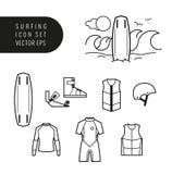 Surfende en wakeboarding pictogramreeks Stock Foto's
