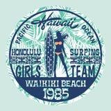 Surfendes Mädchenteam Hawaiis lizenzfreie abbildung