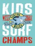 Surfendes Team des Haifischs lizenzfreie abbildung