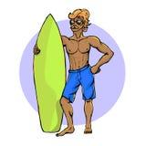 Surfer με την ιστιοσανίδα Στοκ φωτογραφία με δικαίωμα ελεύθερης χρήσης