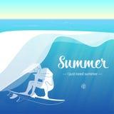 Surfer που οδηγά τα κύματα ελεύθερη απεικόνιση δικαιώματος