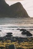 Surfer στο κύμα που φωτογραφίζεται από την ακτή στο ηλιοβασίλεμα στοκ φωτογραφία