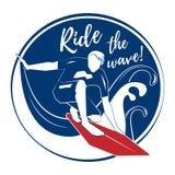Surfer στο μεγάλο κύμα Στοκ Εικόνα