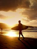 Surfer. Young boy surfer walking on the sand whit his surf board at sunset royalty free stock photo