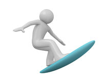 Surfer. 3d isolated characters on white background, sports series Stock Photos
