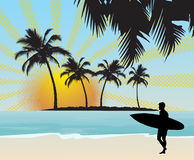 Surfer. In beautiful tropical background stock illustration