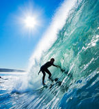 Surfer. In the Barrel on Perfect Blue Wave in California royalty free stock photos