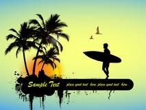 Surfer. On tropical background, illustration stock illustration
